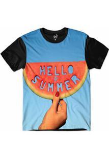 Camiseta Long Beach Olá Verão Sublimada Masculina - Masculino-Azul+Preto