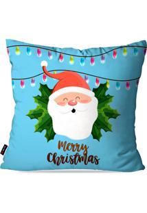 Capa Pump Up De Almofada Decorativa Avulsa Natalina Papai Noel Merry Christmas 45X45Cm