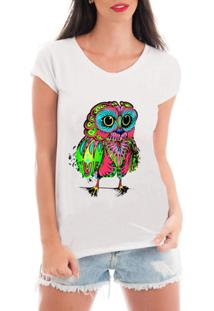 Blusa Criativa Urbana T-Shirt Coruja Psicodélica - Feminino
