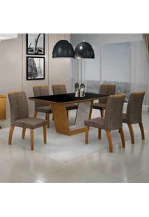 Conjunto De Mesa Com 6 Cadeiras Alemanha Iv Imbuia Mel E Marrom