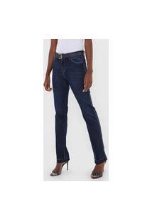 Calça Jeans Hering Reta Estonada Azul-Marinho