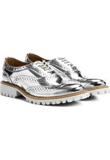 Oxford Santa Lolla Brogue Metalizado - Feminino-Prata