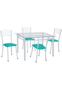 Conjunto De Mesa Com 4 Cadeiras Marília Corino Azul E Branco