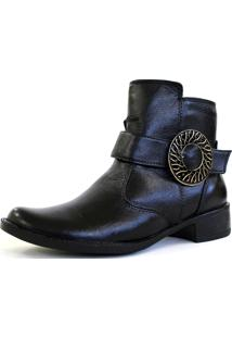 Botinha Cano Curto Sapatotop Shoes Fivela Preta