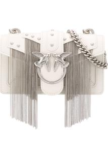 Pinko Fringed Love Crossbody Bag - Branco