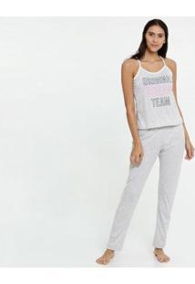 Pijama Estampa Frontal Alças Finas Marisa Feminino - Feminino-Cinza