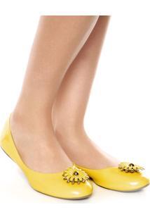Sapatilha Dafiti Shoes Flor Verniz Amarela