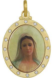 Pingente Prata Mil Adesivo Rainha Da Paz 16 Pedras Dourado