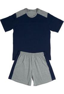 Conj. Pijama Cotton Curto Azul Escuro P