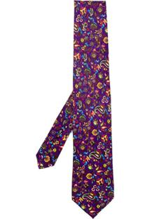 Etro Gravata Floral Paisley - Roxo