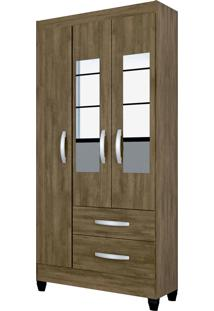Guarda Roupa Real 3 Portas C/Espelho Mocaccino Rústico Atualle