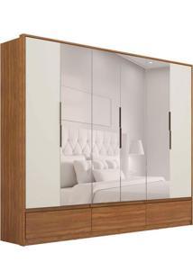 Guarda-Roupa Casal Com Espelho Moara Ii 6 Pt 7 Gv Amêndola E Off White