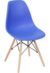 Cadeira Eames Base Madeira E Azul Escuro