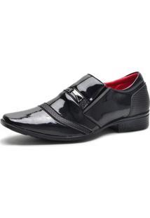 Sapato Social Ruggero Verniz Elástico Conforto Dia A Dia Preto