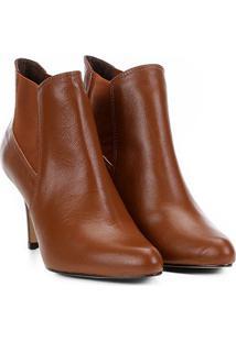 Bota Couro Cano Curto Shoestock Salto Fino Feminina - Feminino-Marrom