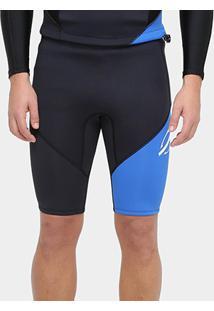 Bermuda Surf Mormaii Neoprene Snap 1.5 Mm Masculina - Masculino-Preto+Azul