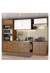 Cozinha Completa Madesa Stella 290001 Com Armário E Balcão Rustic/Branco Rustic/Rustic/Branco
