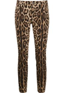 Dolce & Gabbana Leopard Print Cropped Jeans - Neutro
