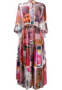 Zimmermann Poster-Print Rouleau Button Chiffon Dress - Rosa