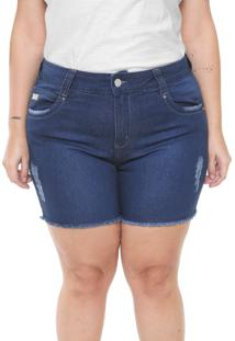 Bermuda Jeans Vgi Plus Size Azul