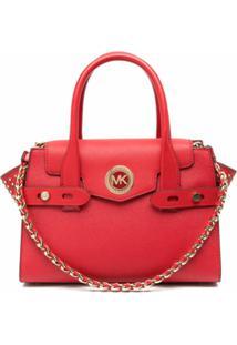Michael Michael Kors Carmen Leather Satchel - Vermelho