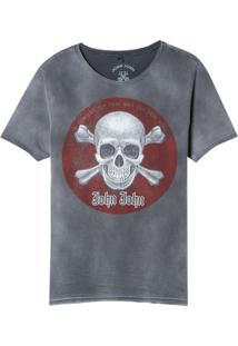 Camiseta John John Rx Red Skull Malha Cinza Masculina (Cinza Chumbo, M)