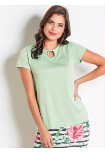 Blusa Verde Moda Evangélica Com Vazado No Decote