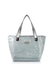 Bolsa Shopper Transparente Jacki Design Diamantes Cinza Claro