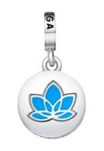 Pingente Yoga Banhado Á Rã³Dio- Prata & Azul- 1X1Cm