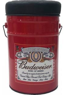 Banco Puff Ba㺠Tambor Redondo 42X30X30Cm Cerveja Vermelho - Marrom - Dafiti