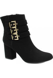 Bota Cano Curto Zariff Shoes Ankle Boot Zíper Feminina - Feminino-Preto