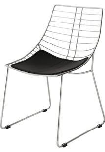 Cadeira Brigite Assento Dunas Preto Com Base Cromada - 46694 - Sun House