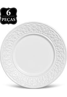 Conjunto De Pratos De Sobremesa Porto Brasil Baroque 6Pçs Branco