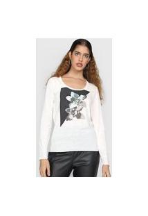 Blusa Calvin Klein Jeans Flor Off-White