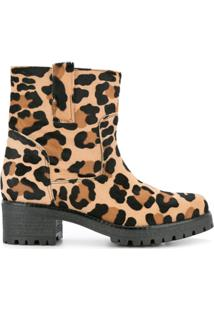 P.A.R.O.S.H. Ankle Boot Com Estampa De Leopardo - Marrom