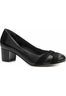 Scarpin Shoestock Salto Grosso Mix Couros - Feminino-Preto