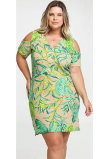 Vestido Feminino Open Shoulder Tropical Plus Size