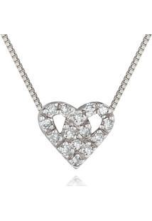 Pingente Coraã§Ã£O Ouro Branco E Diamantes