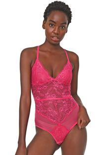 Body Calvin Klein Underwear Tule E Renda Rosa