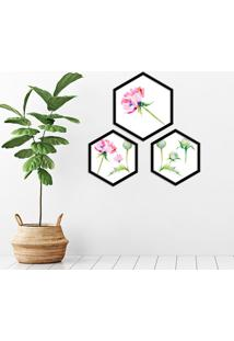 Kit 2 Quadros Com Moldura Hexagonal Rosa