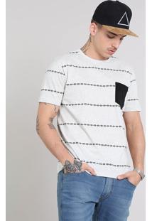 Camiseta Masculina Estampada Étnica Com Bolso Gola Careca Manga Curta Cinza Mescla Claro
