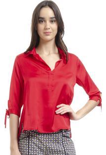 d2808a99a513a Camisa Pólo Acinturada Basica feminina. Camisa 101 Resort Wear Polo Cetim  Liso Vermelho