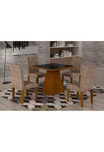 Conjunto De Mesa De Jantar Luna Com 4 Cadeiras Ane Ii Suede Animalle Imbuia, Preto E Chocolate