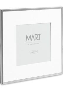 Porta-Retrato Metalizado- Prateado & Branco- 18X18X1Mart