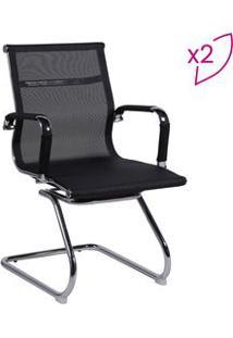 Or Design Jogo De Cadeiras Office Eames Tela Preto & Prateado 2Pã§S