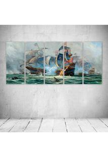Quadro Decorativo - Art Ships Sailing Battle Ocean Painting - Composto De 5 Quadros - Multicolorido - Dafiti