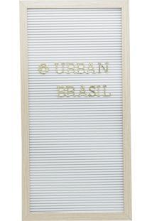 Quadro Madeira Plástico Alfabeto Branco Letras Douradas 25,4X2X50,8Cm Urban