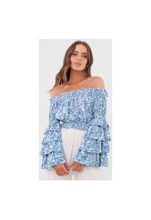 Blusa Polo Ralph Lauren Ombro A Ombro Branca/Azul