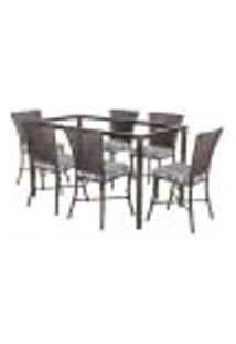 Jogo De Jantar 6 Cadeiras Turquia Pedra Ferro A32 E 1 Mesa Retangular Sem Tampo Ideal Para Área Externa Coberta
