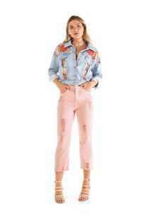 Jaqueta Classica Bordada Jeans